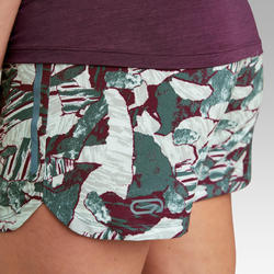 RUN DRY WOMEN'S RUNNING SHORTS - DARK GREEN PRINT