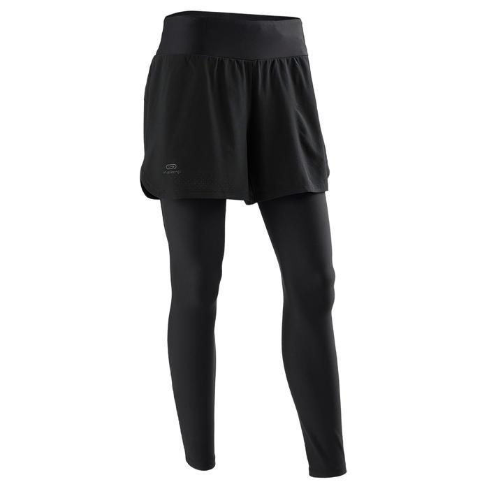 Leggingshort voor hardlopen voor dames 2-in-1 Run Dry+ zwart