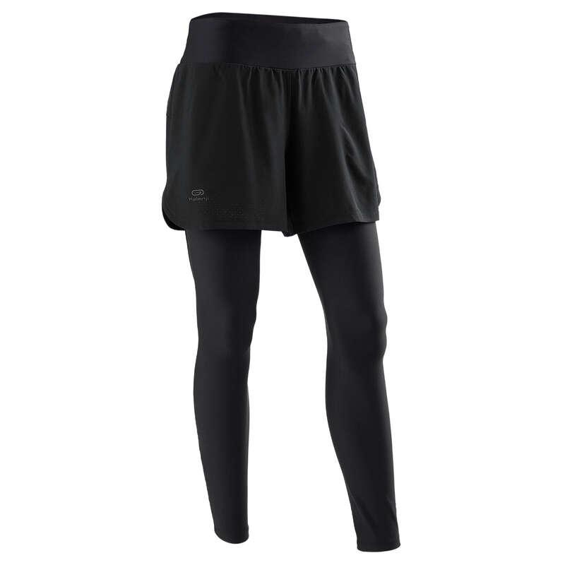DÁMSKÉ PRODYŠNÉ OBLEČENÍ NA JOGGING Běh - BĚŽECKÉ LEGÍNY 2V1 RUN DRY+  KALENJI - Běžecké oblečení