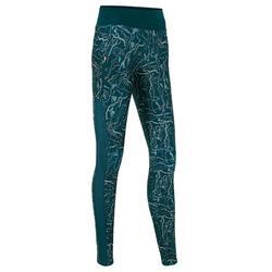 女款跑步緊身褲Run Dry+ - 深綠色