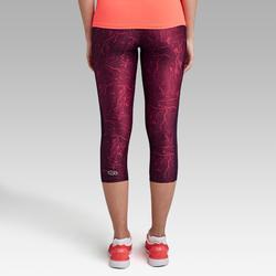 Mallas Piratas Leggings Deportivos Running Kalenji Run Dry+ Mujer Violeta/Rojo