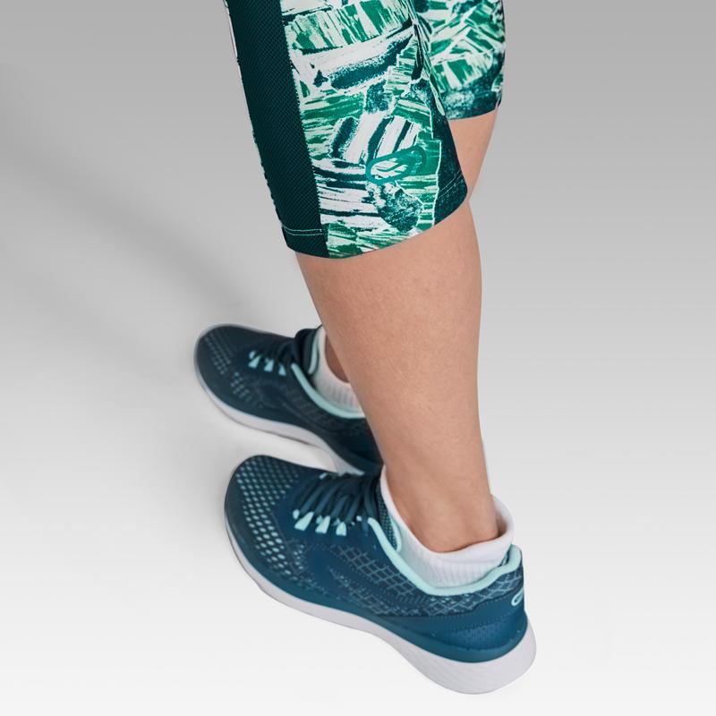 กางเกงวิ่งขาส่วนทรงรัดรูปสำหรับผู้หญิงรุ่น RUN DRY+ (สีเขียว)