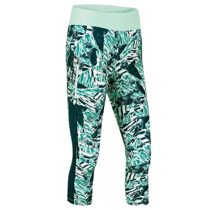 Mallas Piratas Leggings Deportivos Running Kalenji Run Dry+ Mujer Verde/Azul