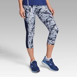 Mallas Piratas Leggings Deportivos Running Kalenji Run Dry+ Mujer Azul/Blanco