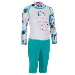 151df7c517c5 Top Camiseta Proteción Solar Playa Surf Olaian Bebé Blanco Verde Caribe  ANTI-UV