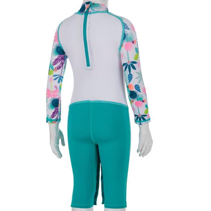 Top Camiseta Proteción Solar Playa Surf Olaian Bebé Blanco Verde Caribe ANTI-UV