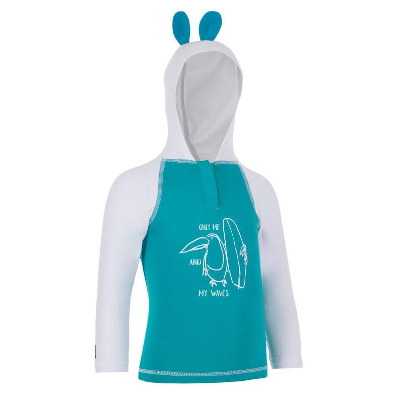 T-Shirt Perlindungan UV Bayi 100 dengan Tudung - Turquoise
