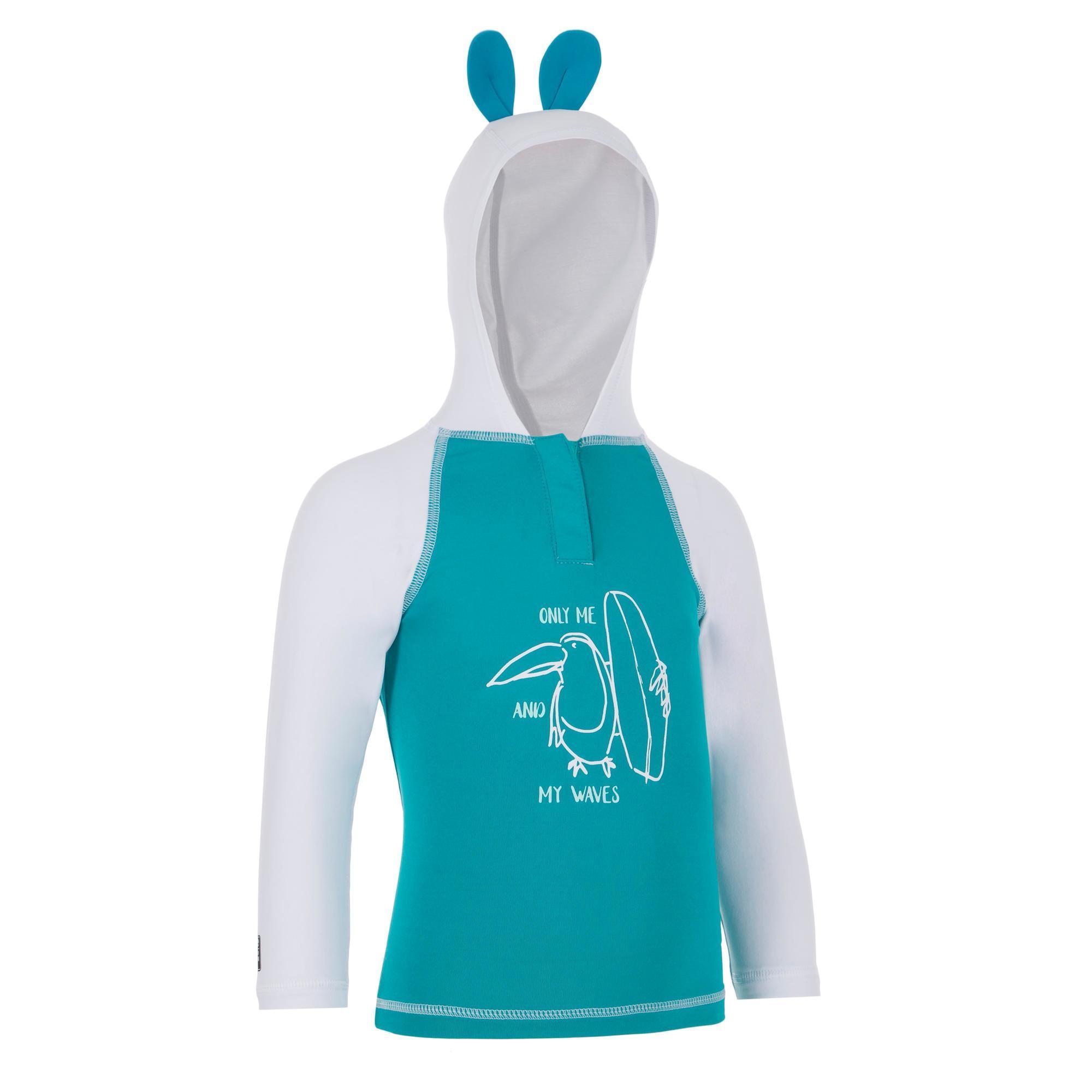 Nabaiji Uv-werend shirt met capuchon 100 voor peuters turquoise