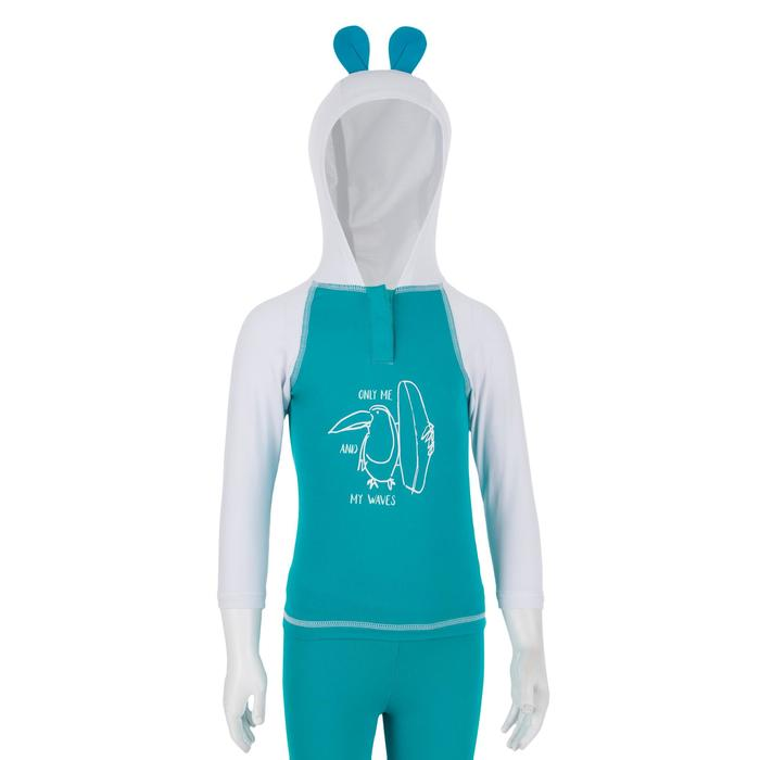 100 Baby UV-Protection T-Shirt with Hood - Turquoise
