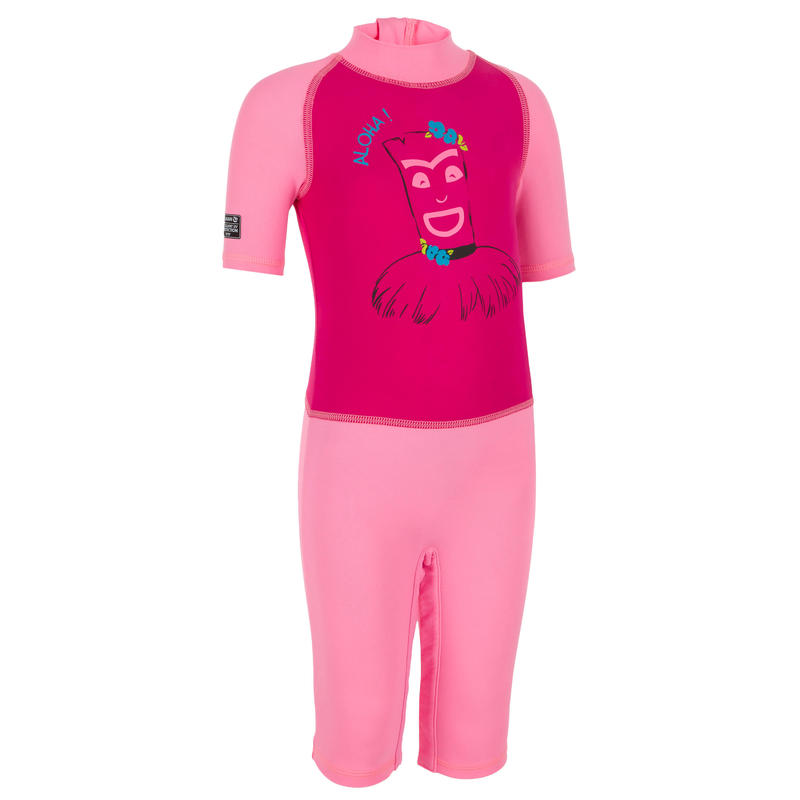 T-shirt Shorty Selancar Perlindungan UV Lengan Pendek Bayi - Pink