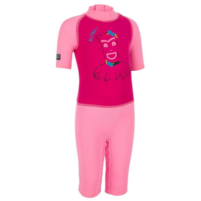 tee shirt anti UV shorty surf manches courtes bébé rose
