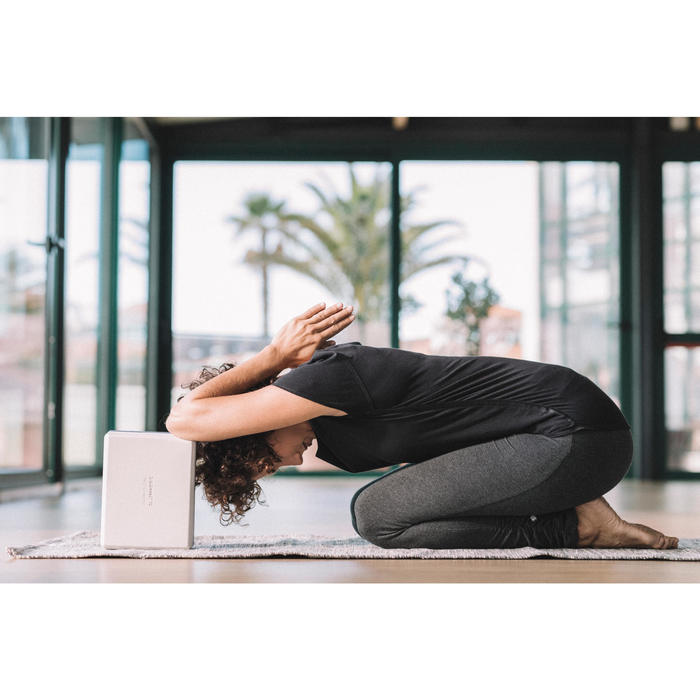 Dames T-shirt in biokatoen voor zachte yoga zwart