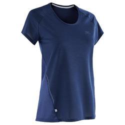 女款跑步T恤RUN LIGHT - 深藍色