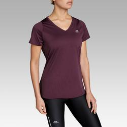 Dames T-shirt voor jogging Run Dry pruimkleur