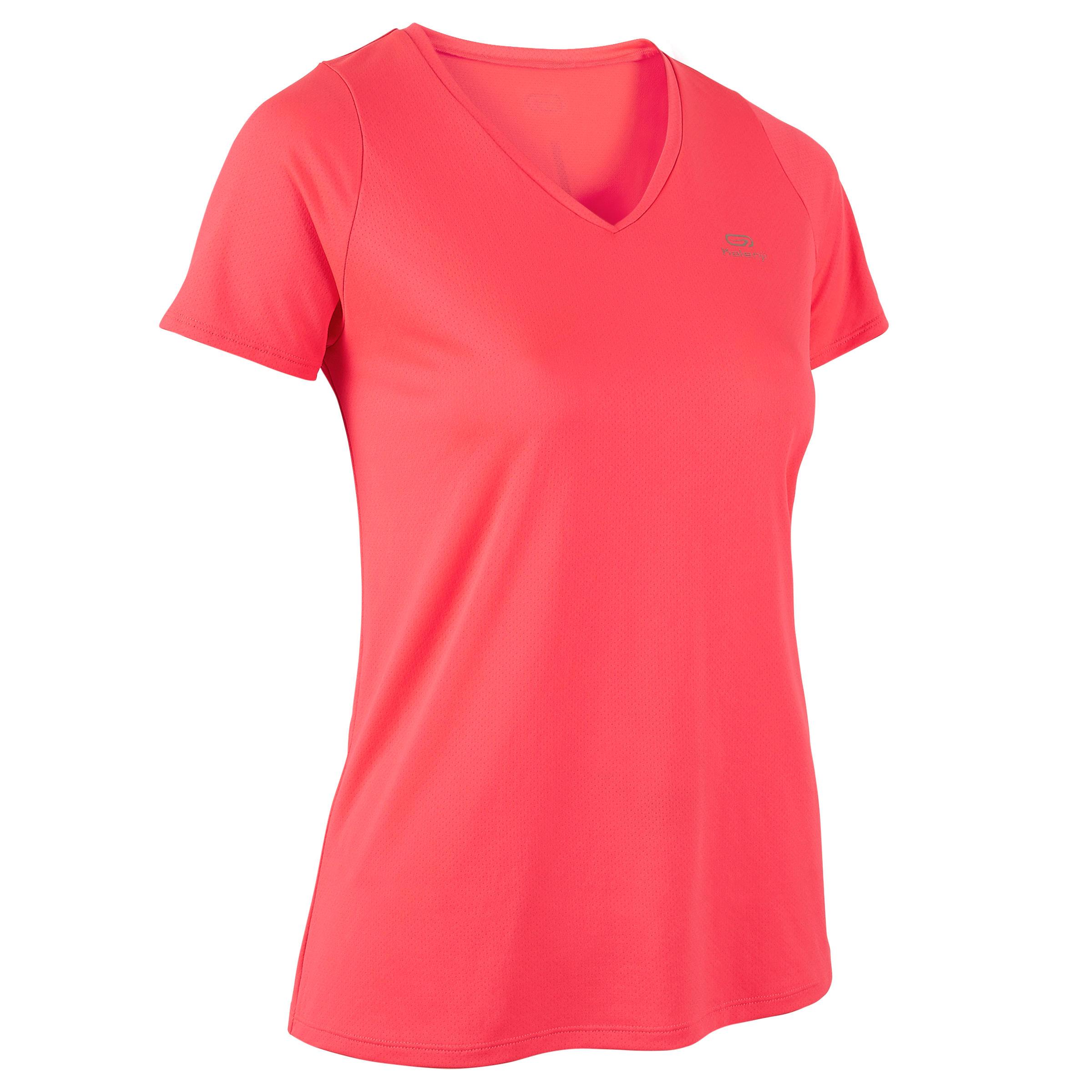 Laufshirt kurzarm Run Dry Damen koralle | Sportbekleidung > Sportshirts | Rot - Rosa | Kalenji