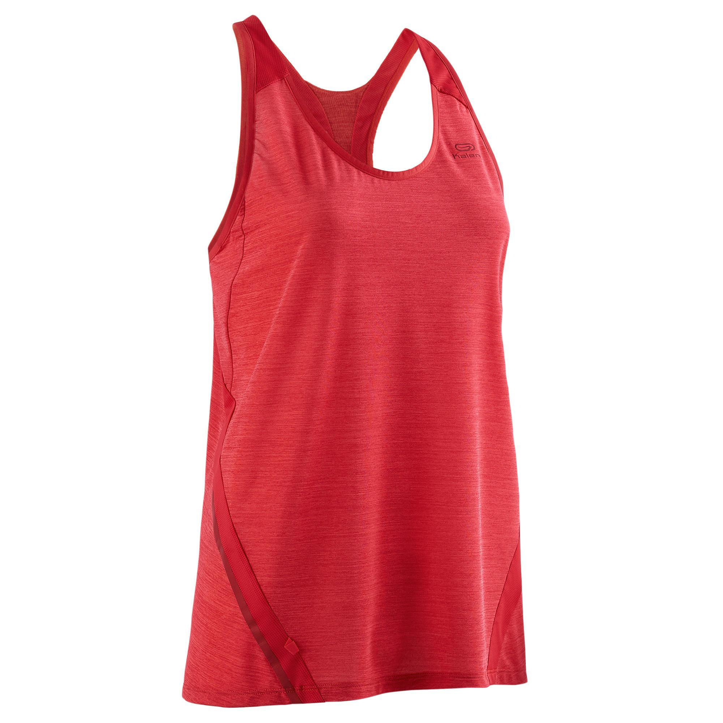 Lauftop Run Light Damen rot | Sportbekleidung > Sporttops | Rot | Baumwolle - Ab | Kalenji