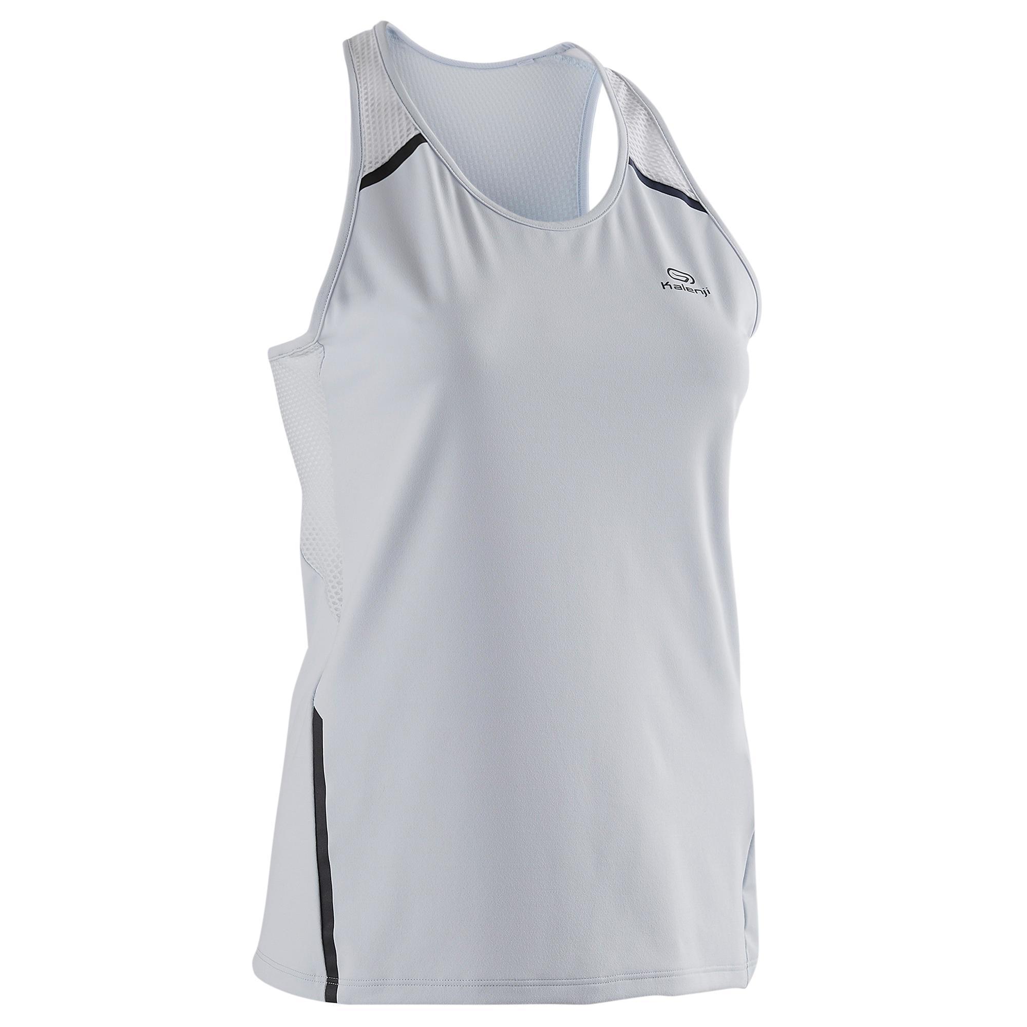 Lauftop Run Dry+ Damen hellgrau   Sportbekleidung > Sporttops > Lauftops   Grau - Blau - Weiß   Ab   Kalenji