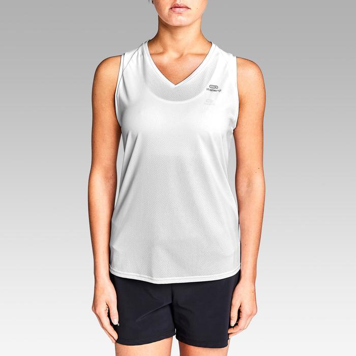 Mouwloos hardloopshirt voor jogging dames Run Dry wit