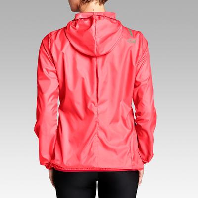 Chaqueta Cortaviento Running Kalenji Run Wind Mujer Rosa Coral/Rojo