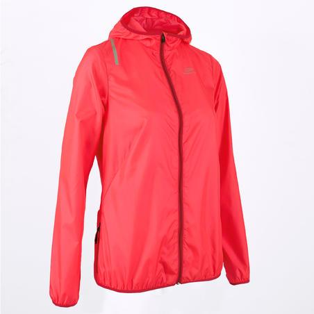 Rompevientos Chamarra Running Kalenji Run Wind Mujer Rosa Coral/Rojo