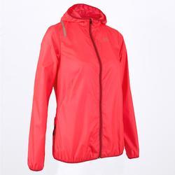 Cortavientos Chaqueta Running Kalenji Run Wind Mujer Rosa Coral/Rojo