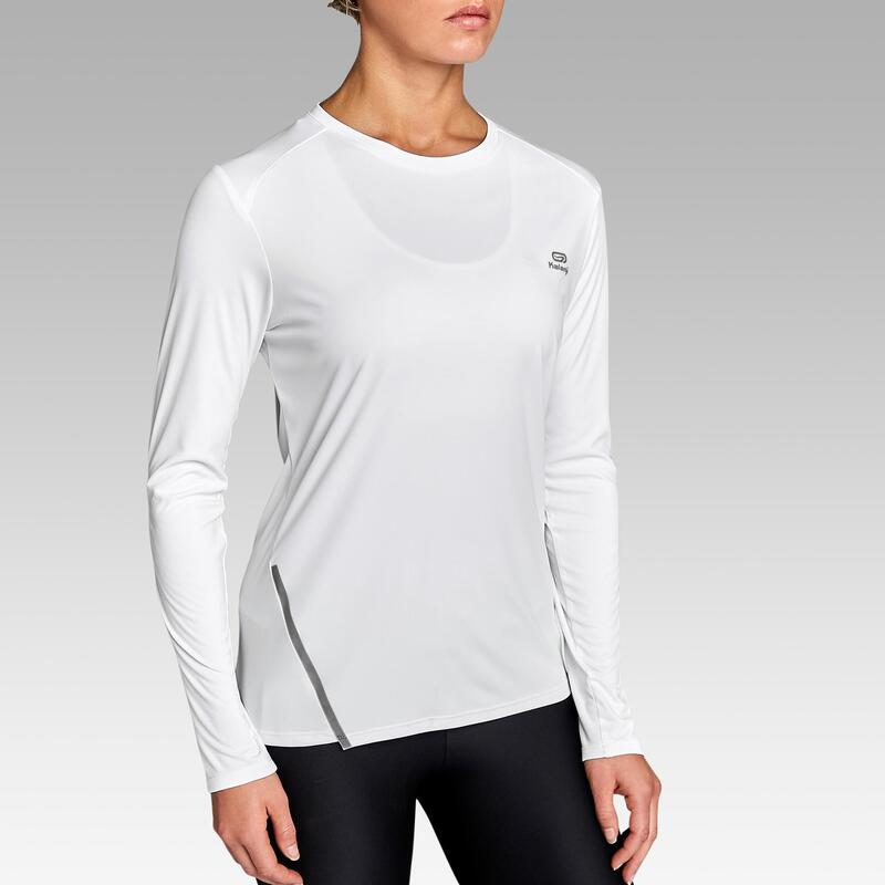 Women's Running Long-Sleeved T-Shirt Run Sun Protect - glacier white
