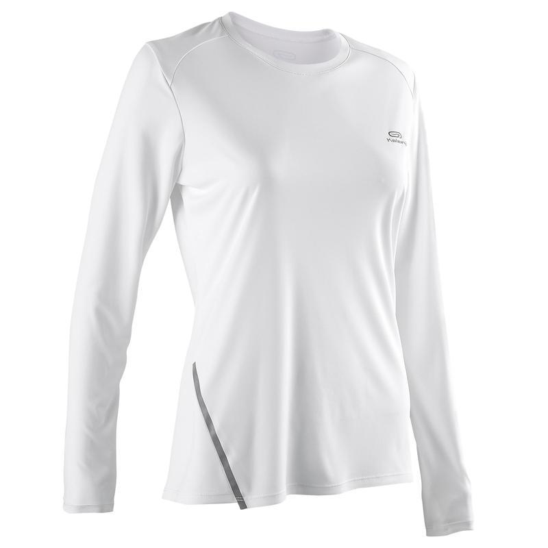 Women's Running Long-Sleeved T-Shirt Run Sun Protect - glacier white