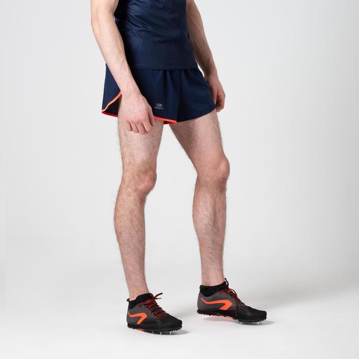 Atletiekshort voor heren blauw/oranje