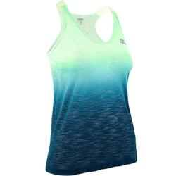 Camiseta Sin Mangas Running Kalenji Mujer Verde/Azul Degradado