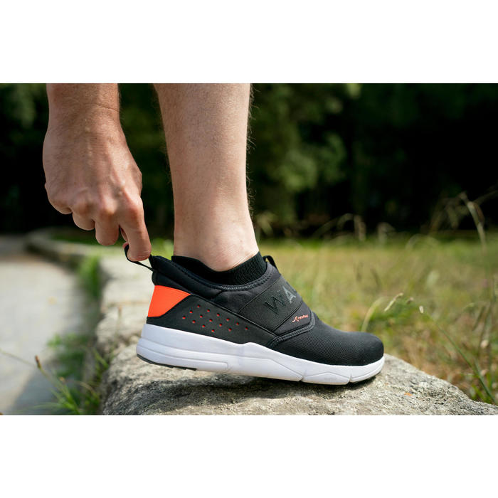 Freizeitschuhe Walking PW 160 SlipOn Herren schwarz/orange