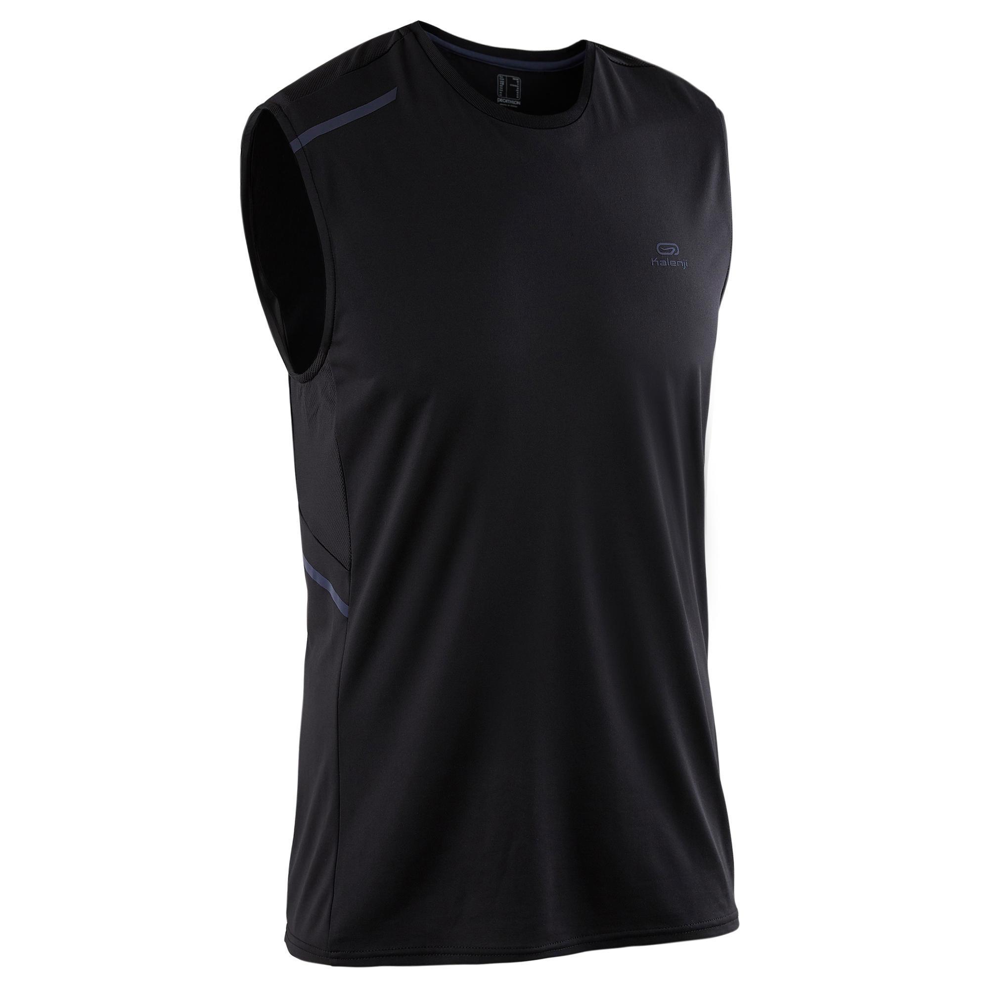 Kalenji Mouwloos hardloopshirt voor heren Run Dry+ zwart