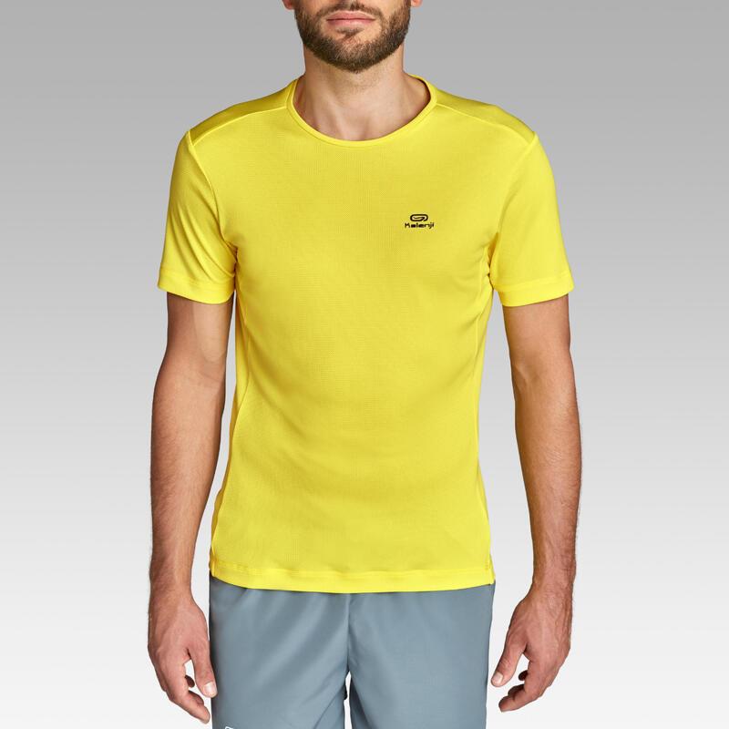 Tricou Respirant Alergare Jogging Run Dry Galben Bărbați