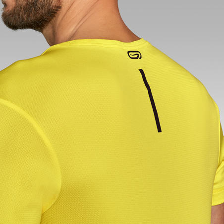 KALENJI DRY MEN'S BREATHABLE RUNNING T-SHIRT - LEMON