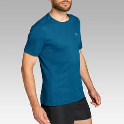 Camiseta Manga Corta Running Kalenji RUN DRY Hombre Azul Petróleo