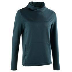 男款長袖跑步連帽T恤RUN DRY+ - 深藍綠色