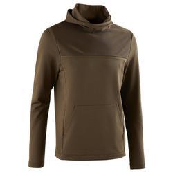 Hardloopshirt met lange mouwen en capuchon heren Run Dry bruin