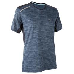 TEE SHIRT RUNNING HOMME RUN DRY + BLEU chiné