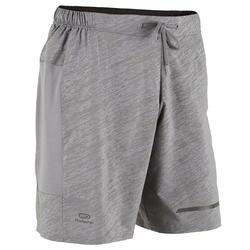 Pantalon Corto Deportivo Running Kalenji Run Dry + N Hombre Gris Claro