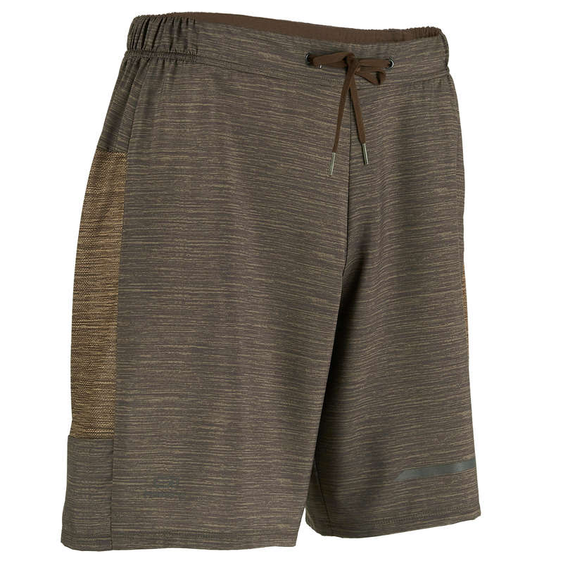 REGULAR MAN JOG WARM/MILD WTHR CLOTHES Clothing - RUN DRY+ M SHORTS flckd brown KALENJI - Bottoms