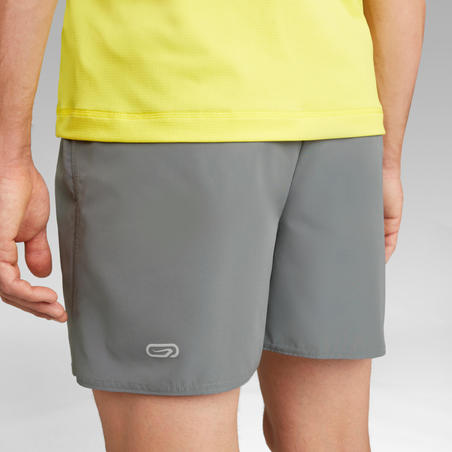 KALENJI DRY MEN'S BREATHABLE RUNNING SHORTS - STONE GREY