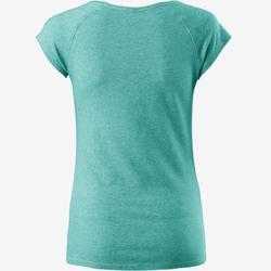 女款修身剪裁溫和健身與皮拉提斯T恤500 - 藍色