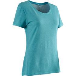 女款標準剪裁溫和健身與皮拉提斯T恤500 - 藍綠色