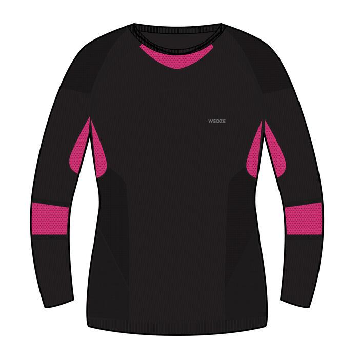 Thermoshirt voor skiën voor kinderen 900 I-Soft zwart en roze