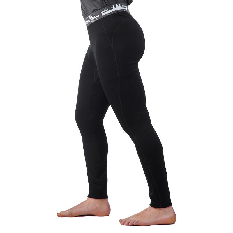 กางเกงรัดรูปผู้ชายสำหรับการเทรคกิ้งบนภูเขารุ่น TECHWOOL 190 (สีดำ)