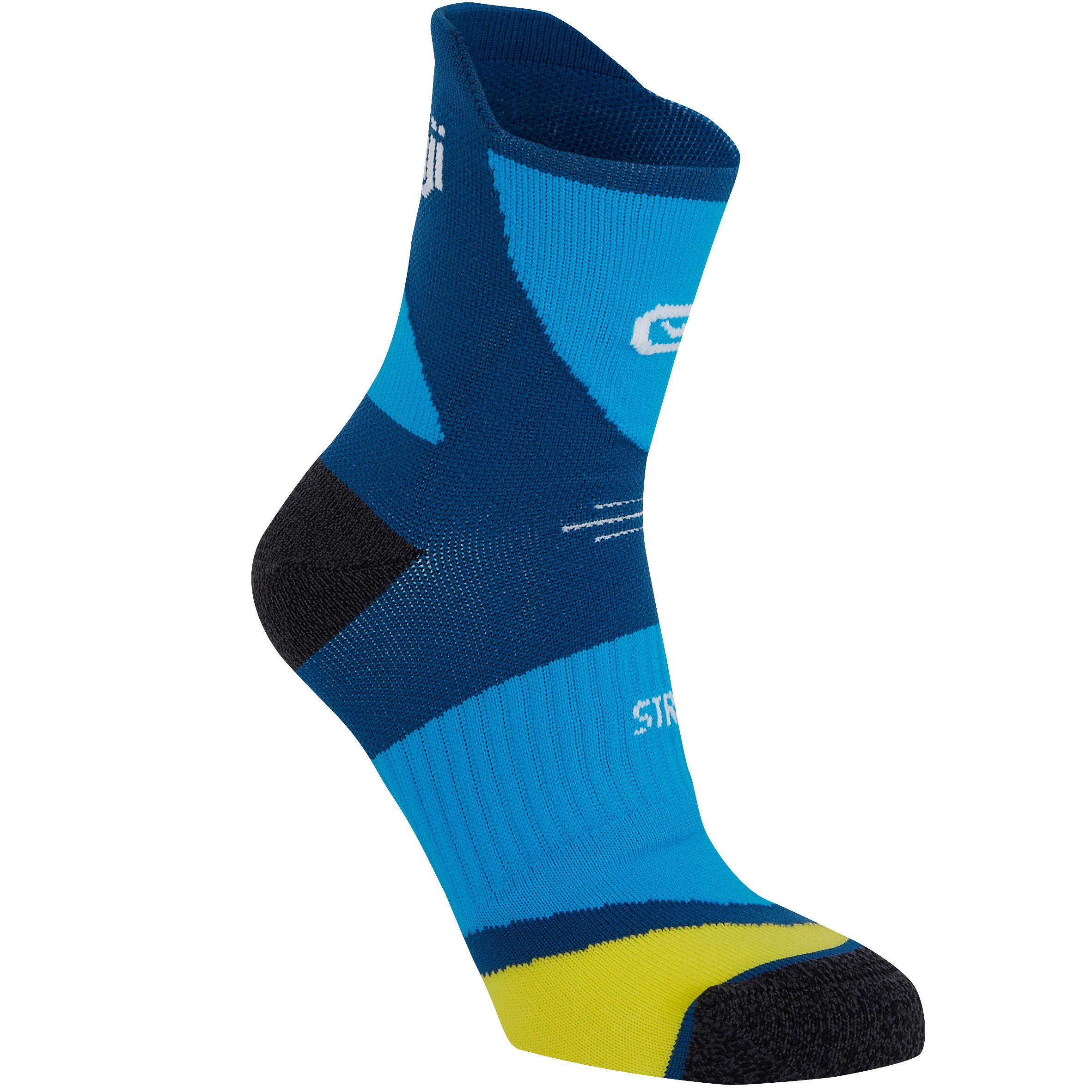 Laufsocken dick Kiprun Strap blau | Sportbekleidung > Funktionswäsche | Kalenji