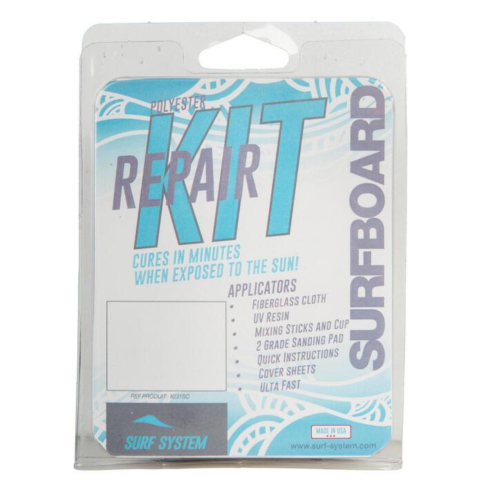 Reparatieset voor surfboard uit polyesterhars.