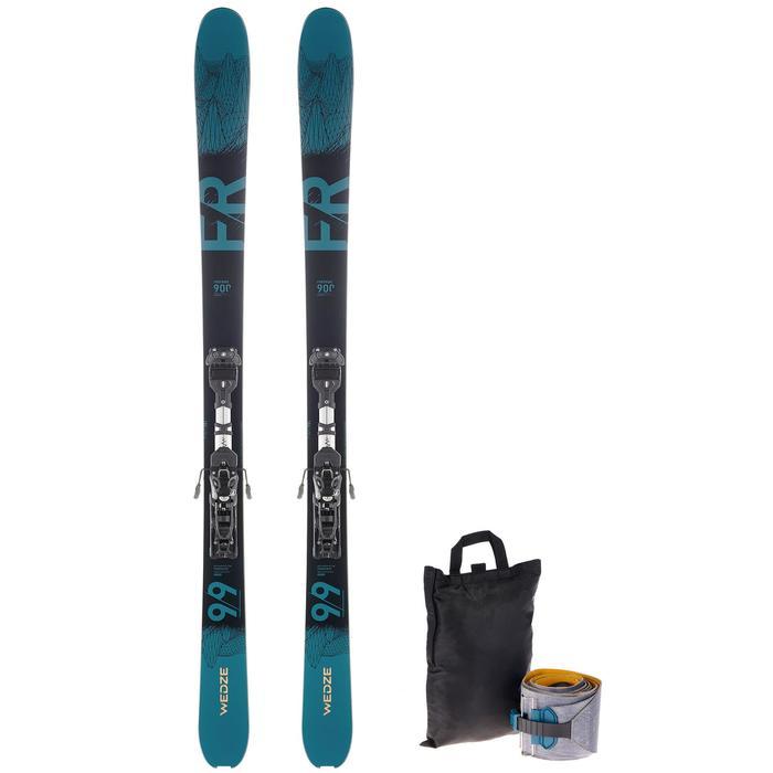 Skiset freeride en toerskiën FR 900 petroleumblauw/zwart + bindingen + vellen