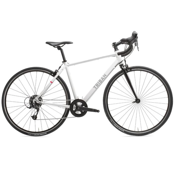 Racefiets / wielrenfiets dames Triban Easy microshift wit