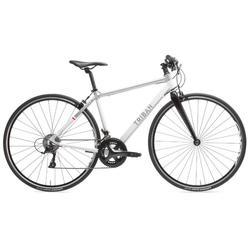 Bicicleta de carretera mujer Triban Regular manillar plano blanco