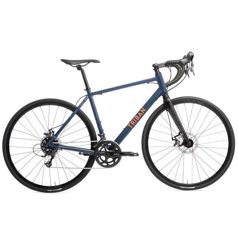 Racefiets voor recreatief fietsen RC120 schijfremmen marineblauw/oranje